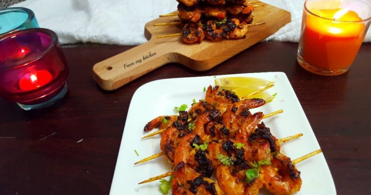 Garlic & Cilantro Skewered Shrimp.