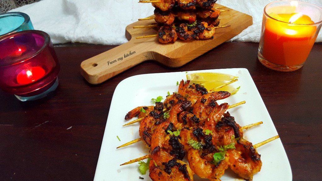 Garlic & Cilantro Skewered Shrimp.