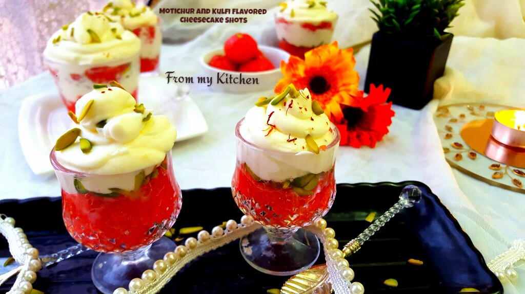 Motichur & Kulfi Flavored Cheesecake Shots.