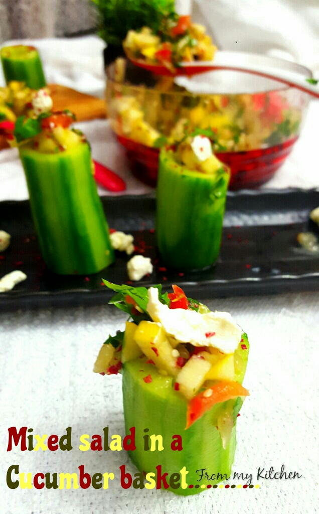 Mixed Salad in Cucumber Basket.