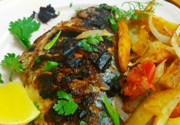 Grilled Fish and Spicy Chips