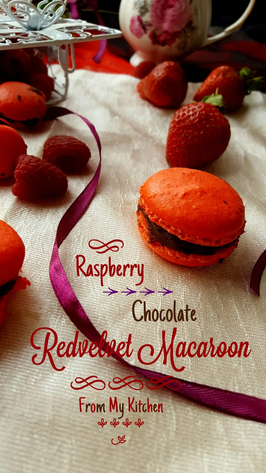 Raspberry & Chocolate Red-velvet Macaroons