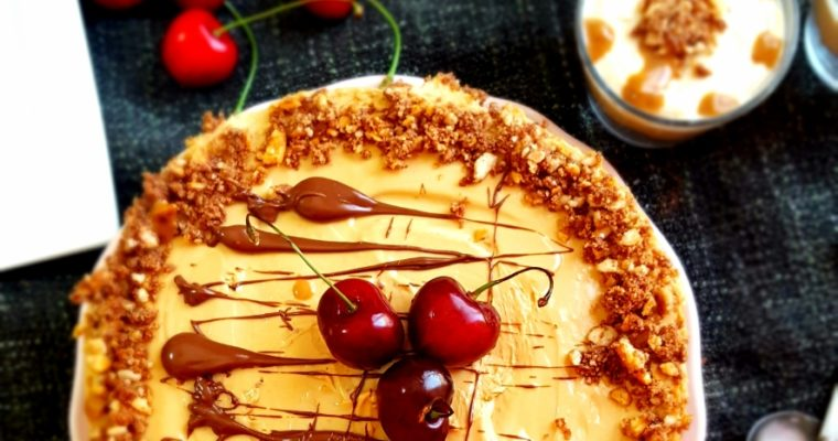 Toffee Cheese Cake with Nutella Crunch