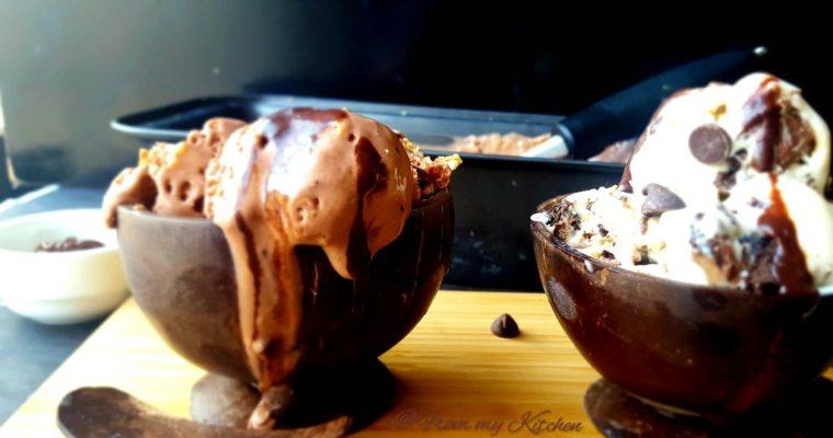 Chocolate Ganache Ice Cream & Cookies and Cream Ice Cream
