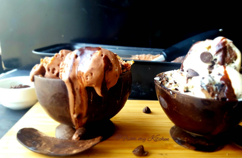 Chocolate Ganache Ice Cream & Cookies and Cream Ice Cream