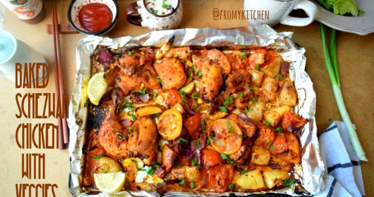 Schezwan Chicken Tray Bake with Veggies