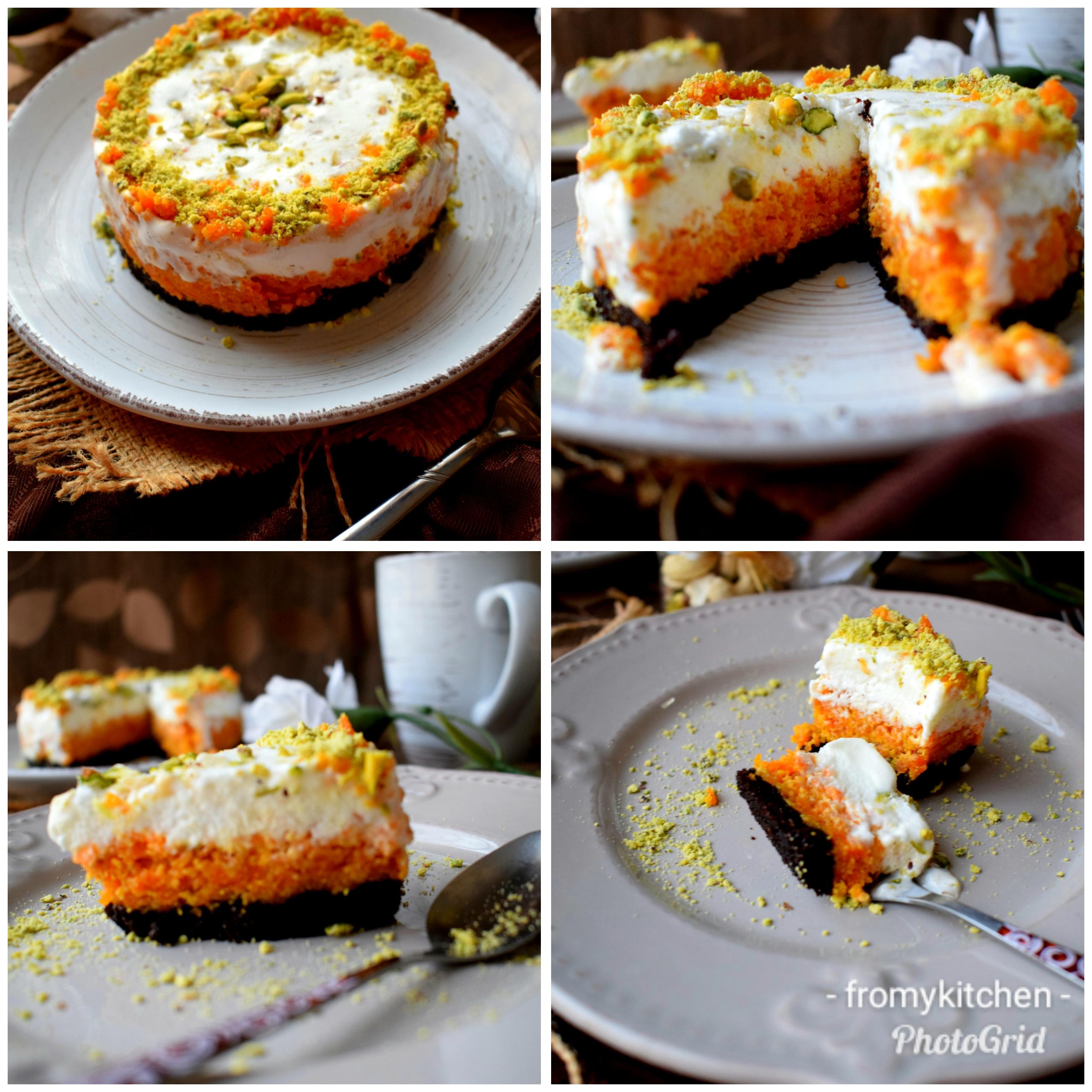 Chocolate & Carrot Halwa Icecream Cake - From My Kitchen