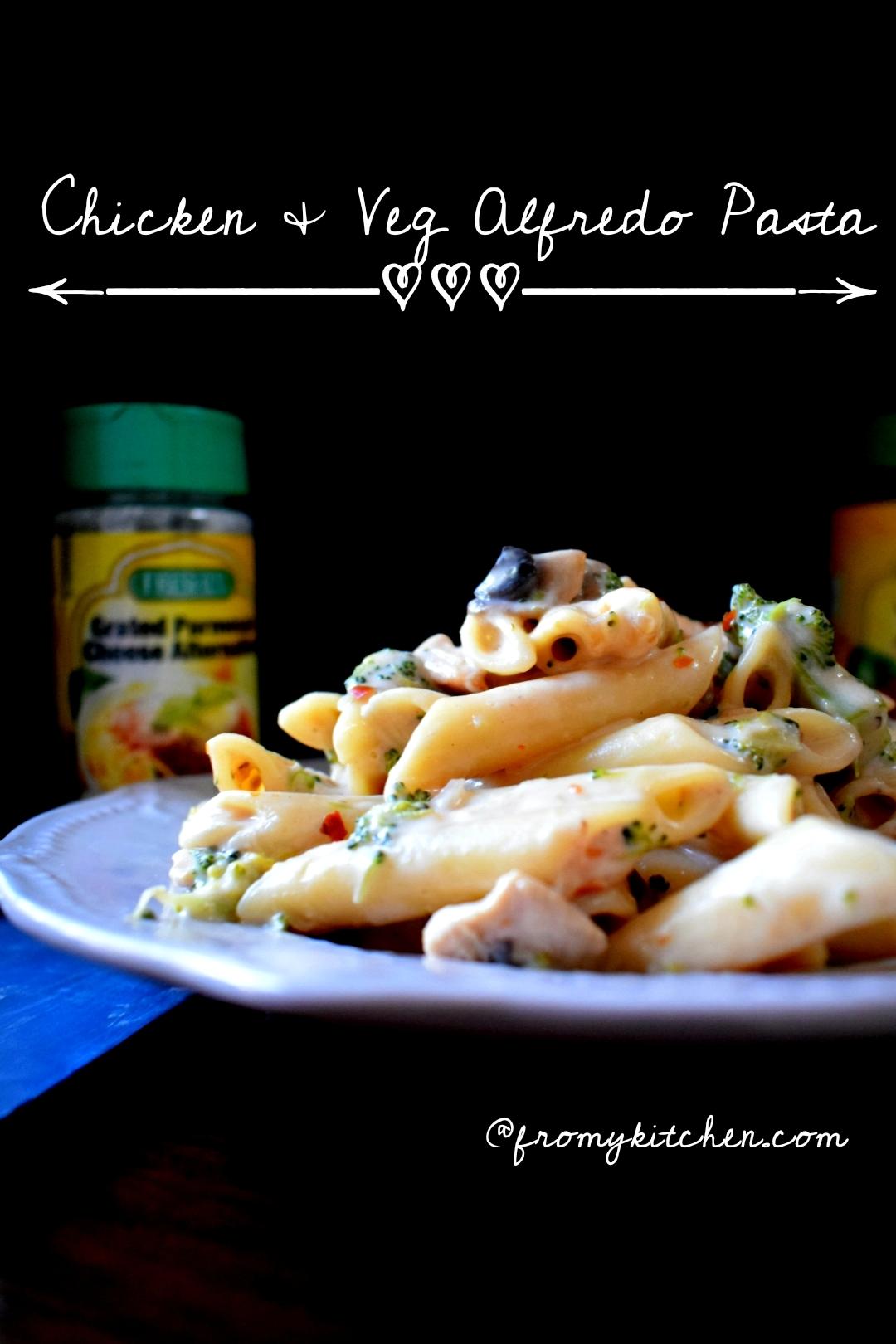 Veg & Chicken Alfredo Pasta