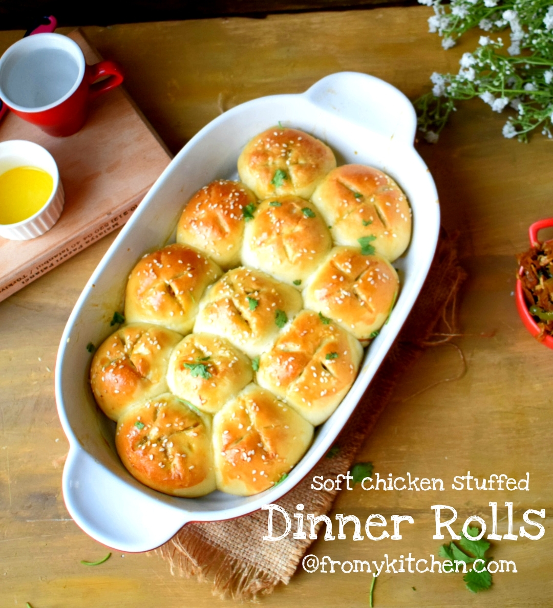 Soft Chicken Stuffed Dinner Rolls From My Kitchen