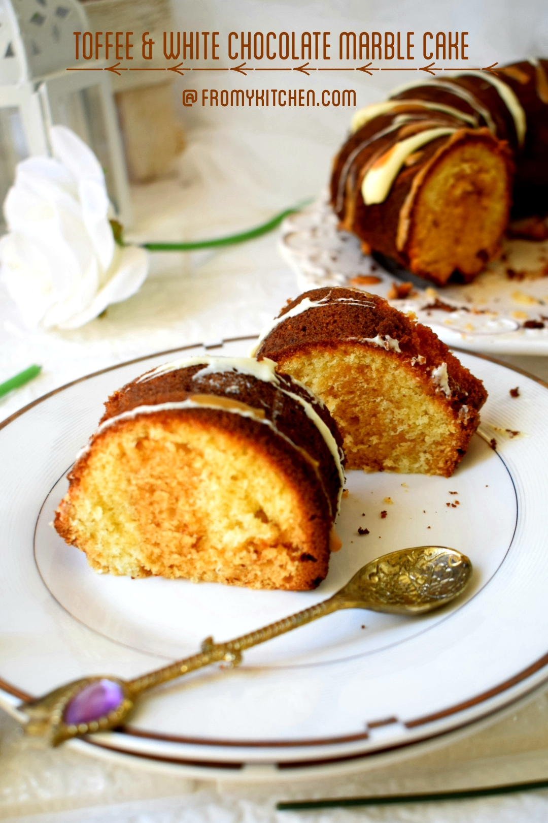 Toffee & White Chocolate Marble Cake